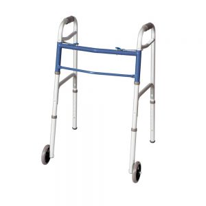 Classics Dual Button Folding Walker with Wheels