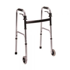 Trigger Release Walker with 5 Inch Fixed Wheels