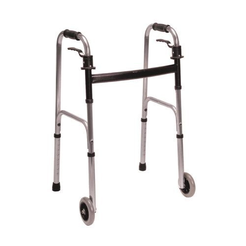 Essential Trigger Release Walker with 5 Inch Fixed Wheels