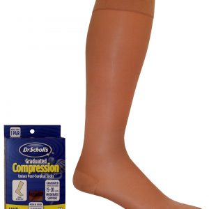 Dr. Scholl's Post Surgical Therapeutic Compression Stockings 15-20 mmHg Knee High Closed Toe Beige