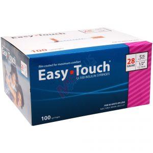 EasyTouch U-100 Insulin Syringes 28g, .5cc, 1:2 inch