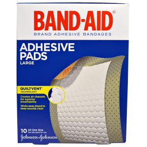 Band-Aid Brand Large Adhesive Pad Flexible Fabric Bandages (Pack of 10)