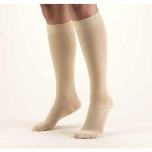 Dr. Comfort Unisex Anti-Embolism Stockings 18 mmHg Knee High Closed Toe Regular, Beige