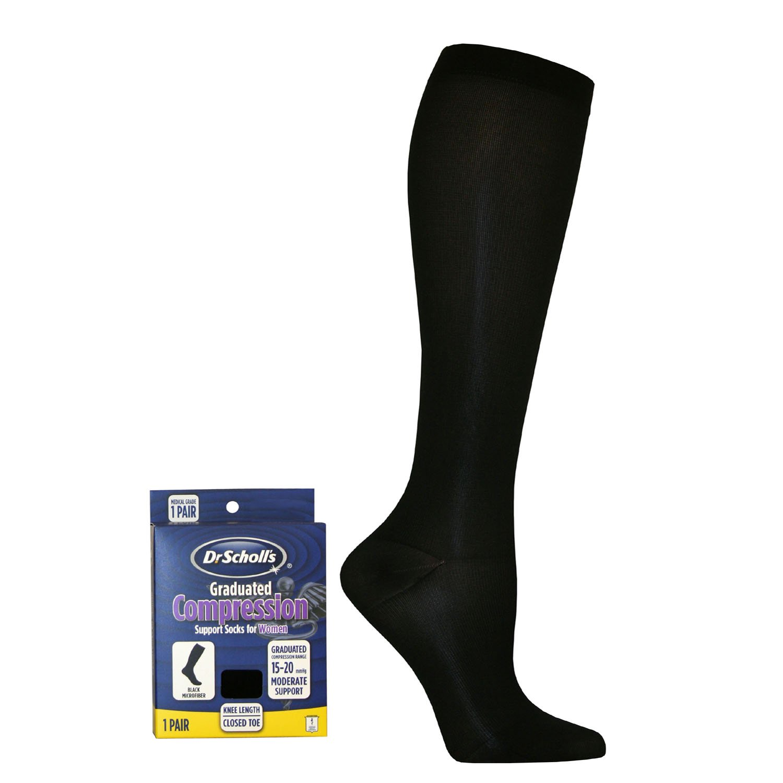 e67abb3c2d2 Dr. Scholl s Women s Sheer Compression Stockings 15-20 mmHg Knee High  Closed Toe Black