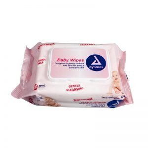 Dynarex Baby Wipes Unscented with Plastic Lid (Pack of 80)
