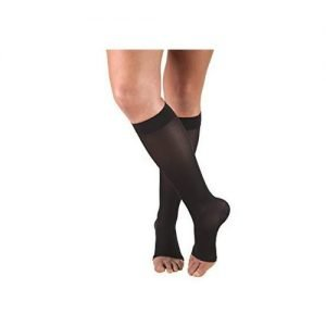 Dr. Comfort Unisex Compression Stockings 15-20 mmHg Knee High Open Toe, Black