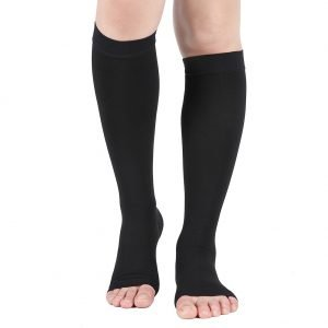Dr. Comfort Unisex Compression Stockings 20-30 mmHg Knee High Open Toe, Black
