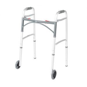 Drive Deluxe Folding Walker Two Button with 5 Inch Wheels