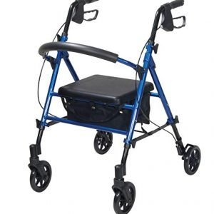 Drive Medical Adjustable Height Rollator with 6 Inches Wheels