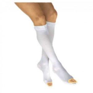 Jobst Anti-Embolism Stockings 16-18 mmHg Knee High Open Toe, White