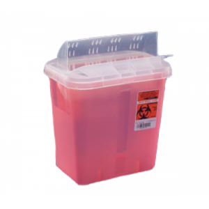 Cardinal Sharps Container Always Open Lid Transparent Red 3 Gallon