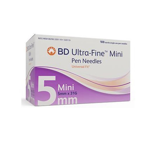 Bd Insulin Ultra Fine Mini Pen Needles 31g 3 16 Inch 5mm Box