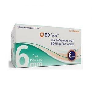 UltiCare 1ml Insulin Syringe Regular Needle 30g, 1/2 Inch
