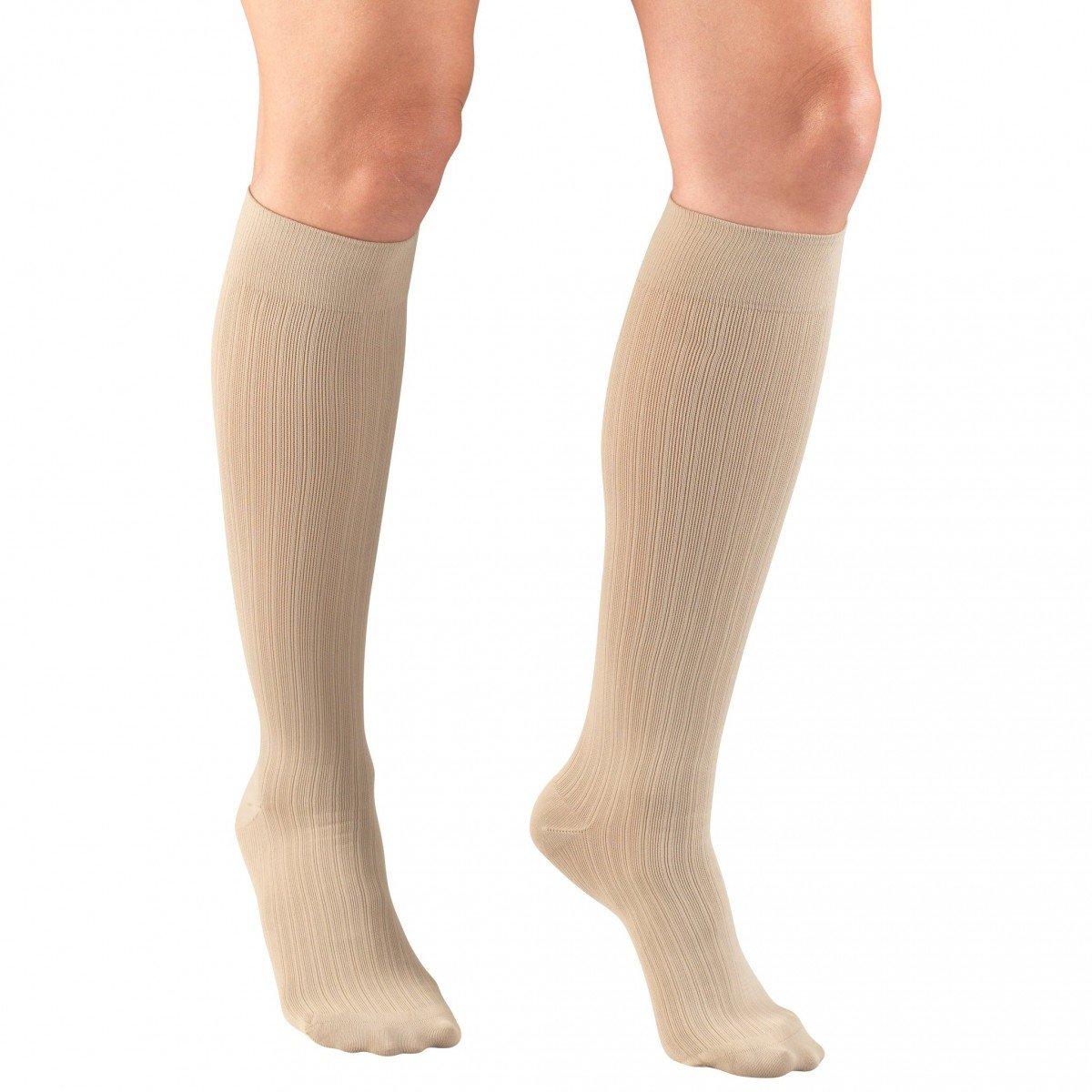 Truform Women's Rib Pattern Trouser Socks 15-20 mmHg Knee High Tan