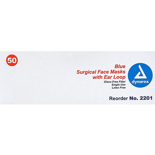 dynarex 2201 medical surgical face masks pack of 50